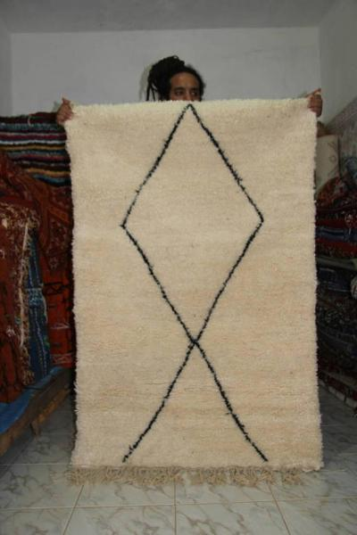 Berber white Moroccan Beni Ourain black patterns moroccan rug