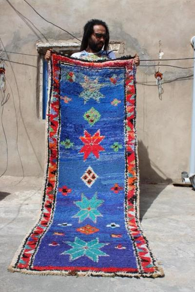 Blue Vintage Amazigh Runner Moroccan rug hand woven rug Moroccan design