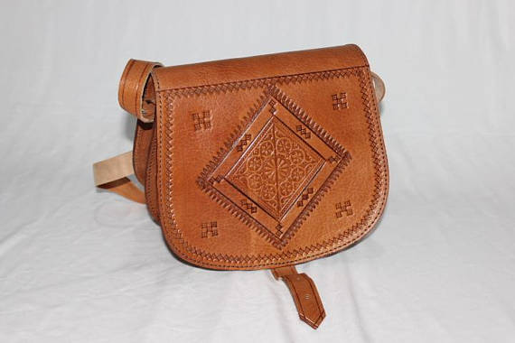 Quality Handbag ethnic moroccan crafted tan leather