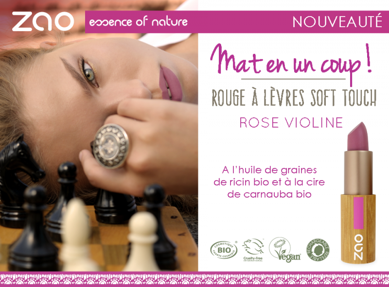 Rouge à Lèvres Soft touch Mat et Intense 431 Rose Violine Bio - Zao Makeup