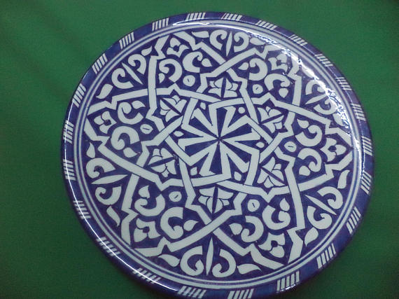 Antique old signed safi art pottery plate Moroccan middle eastern signed ceramic.