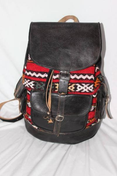 Moroccan leather backpack, moroccan backpack, leather backpack , Kilim leather bag