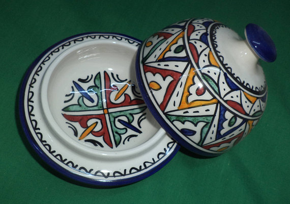 New Ceramic Trinket Pot Moroccan Pottery Hand Painted