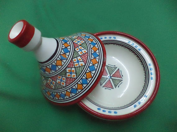 Traditional Moroccan ceramic tagineMoroccan Small Tajine serving small amounts of side dishes
