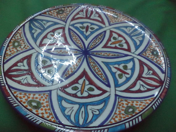 Ceramic Plates Moroccan Handmade Serving, Wall Hanging, Exquisite Colors Decorative