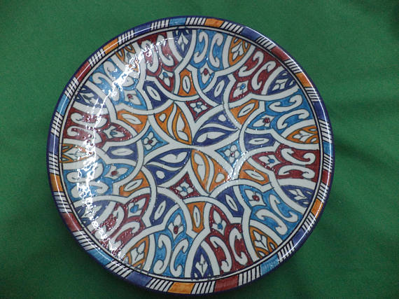 Vintage Moroccan Hand Painted Ceramic Pottery Plate