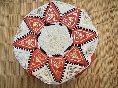 Moroccan leather pouf Orange pouf Orange and gold hand painted pouf